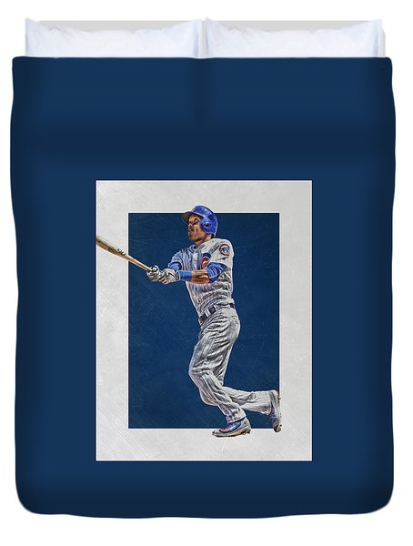 Addison Russell Chicago Cubs Art Duvet Cover by Joe Hamilton