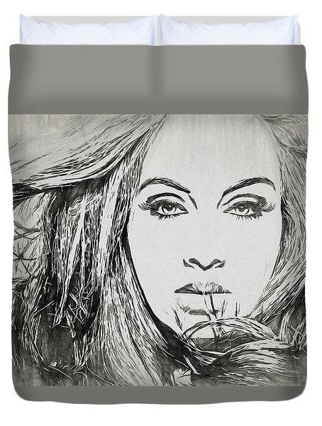 Adele Charcoal Sketch Duvet Cover by Dan Sproul