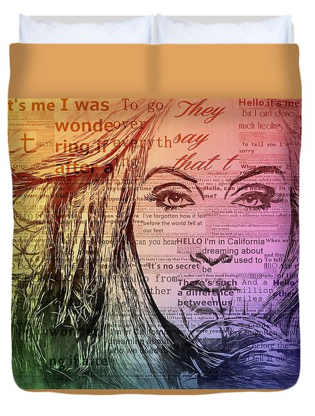 Adele Hello Typography  Duvet Cover by Dan Sproul