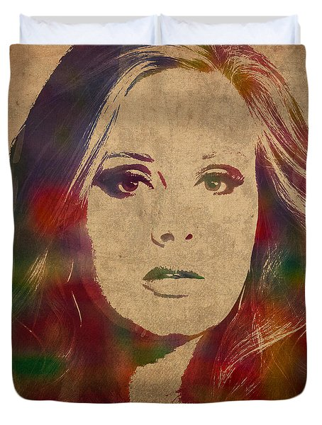 Adele Watercolor Portrait Duvet Cover by Design Turnpike