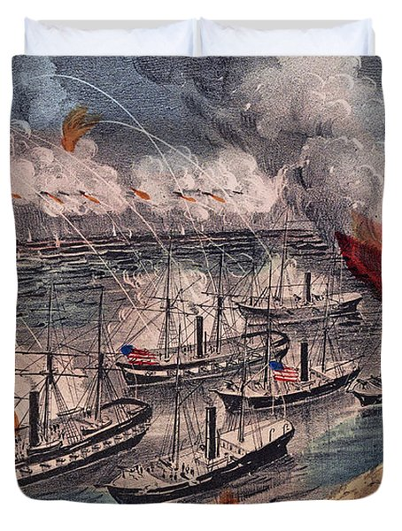 Admiral Farragut's Fleet Engaging The Rebel Batteries At Port Hudson Duvet Cover by American School