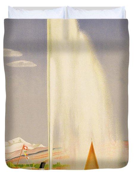 Advertisement For Travel To Geneva Duvet Cover by Fehr