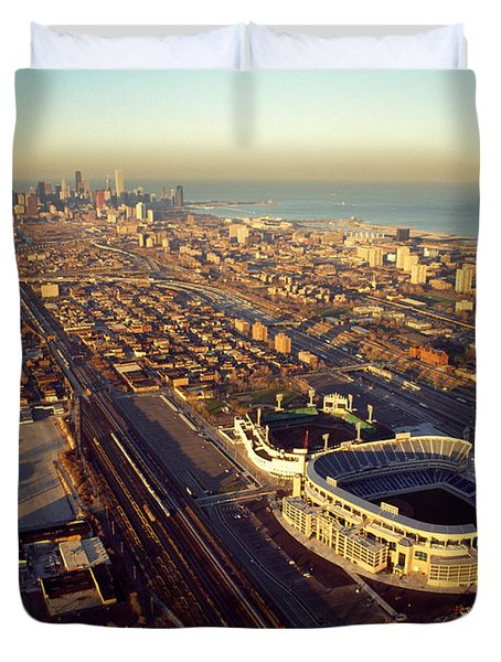 Aerial View Of A City, Old Comiskey Duvet Cover by Panoramic Images