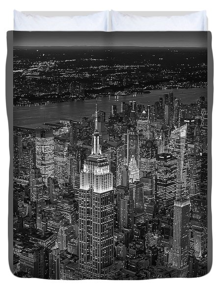 Aerial View Of The Empire State Building Bw Duvet Cover by Susan Candelario