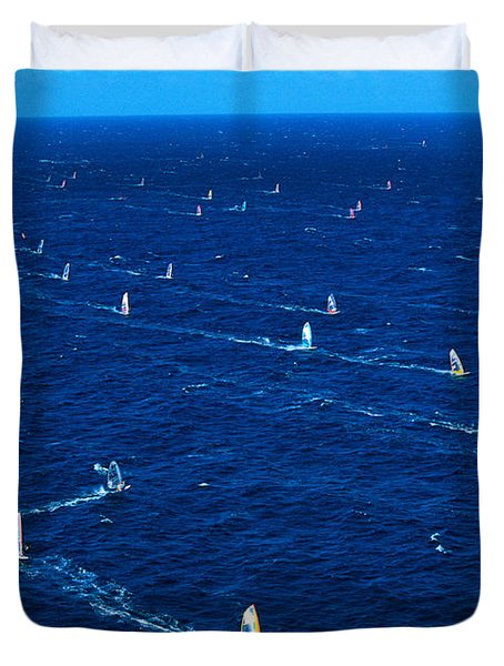 Aerial View Of Windsurfer Duvet Cover by Erik Aeder - Printscapes