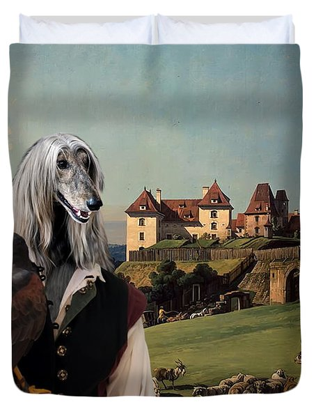 Afghan Hound-falconer And Castle Canvas Fine Art Print Duvet Cover by Sandra Sij