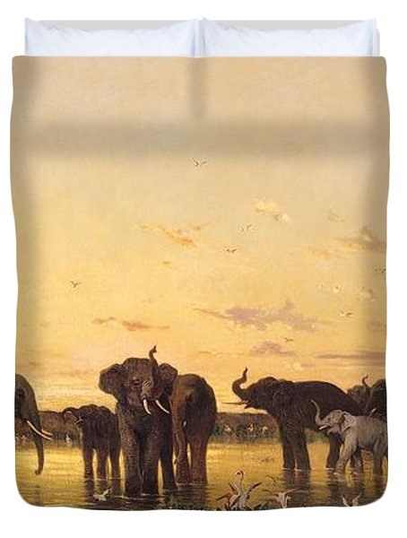 African Elephants Duvet Cover by Charles Emile de Tournemine