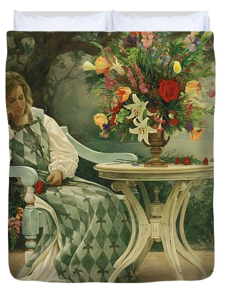 After the Masquerade Duvet Cover by Greg Olsen
