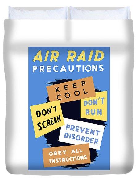 Air Raid Precautions Duvet Cover by War Is Hell Store