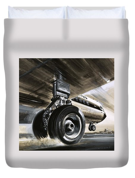 Aircraft Landing Or Taking Off Duvet Cover by Wilf Hardy