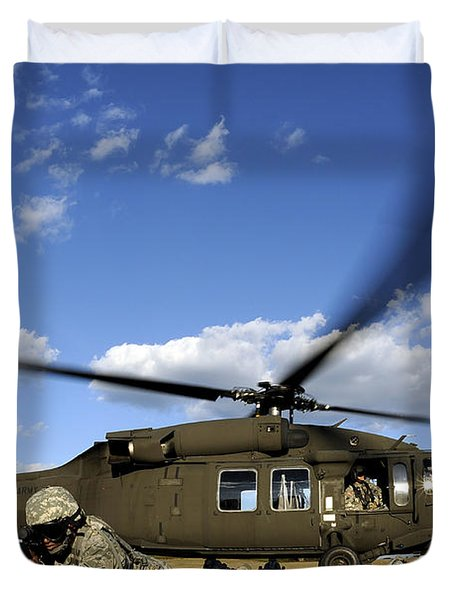 Airmen Provide Security In Front Duvet Cover by Stocktrek Images