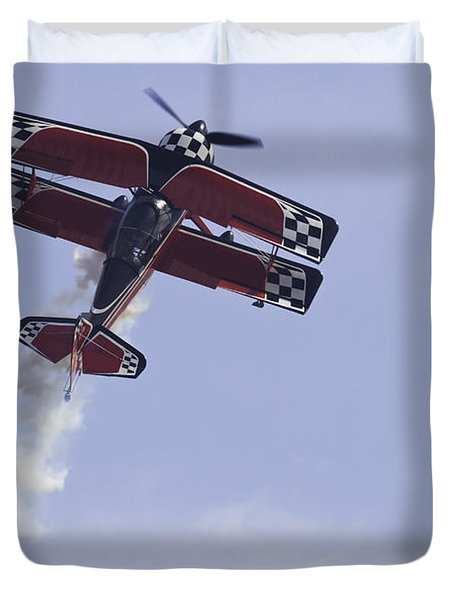 Airplane Performing Stunts At Airshow Photo Poster Print Duvet Cover by Keith Webber Jr