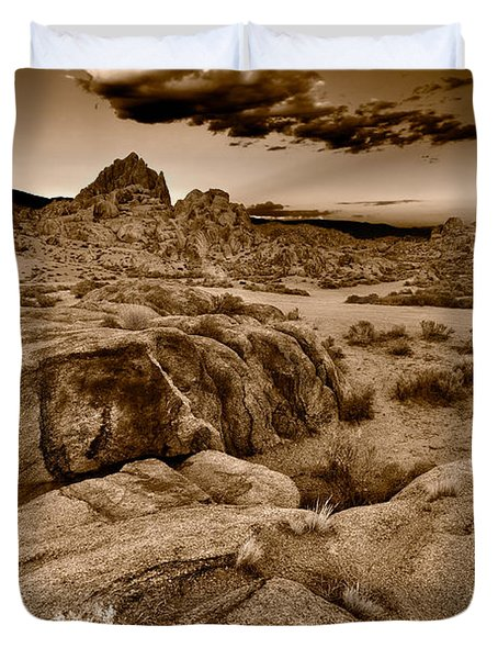 Alabama Hills California B W Duvet Cover by Steve Gadomski