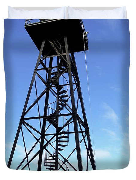 ALCATRAZ GUARD TOWER - SAN FRANCISCO Duvet Cover by Daniel Hagerman