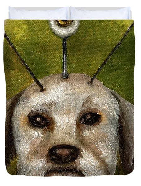 Alien Dog Duvet Cover by Leah Saulnier The Painting Maniac