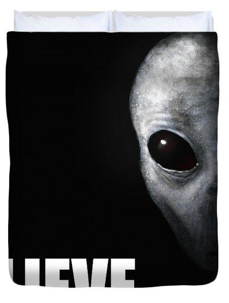 Alien Grey - Believe Duvet Cover by Pixel Chimp