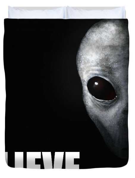 Alien Grey - Believe Duvet Cover by Pixel Chimp