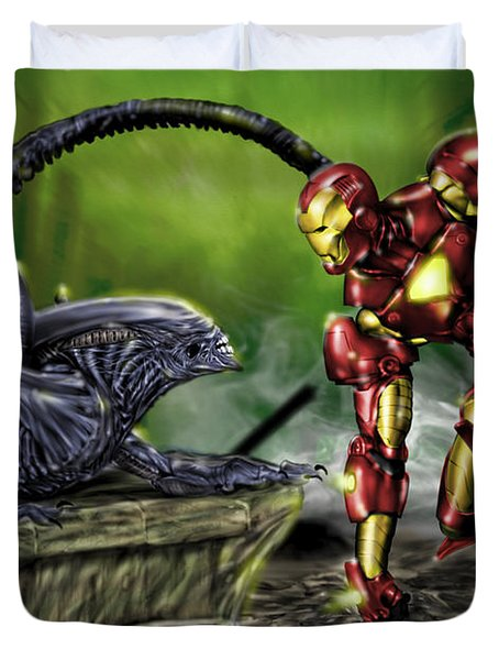Alien Vs Iron Man Duvet Cover by Pete Tapang