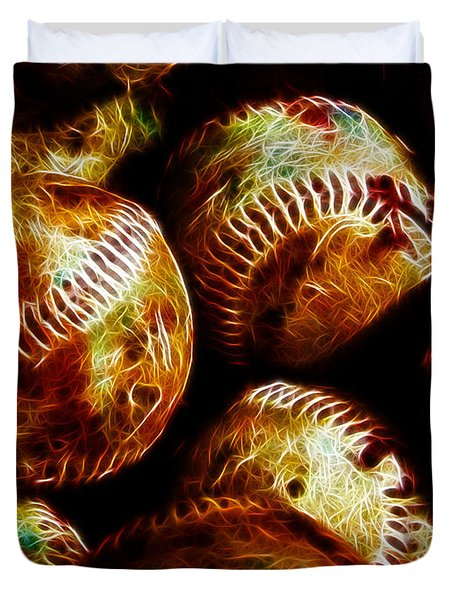All American Pastime - A Pile Of Fastballs - Electric Art Duvet Cover by Wingsdomain Art and Photography