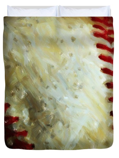 All American Pastime - Baseball - Vertical Cut - Painterly Duvet Cover by Wingsdomain Art and Photography