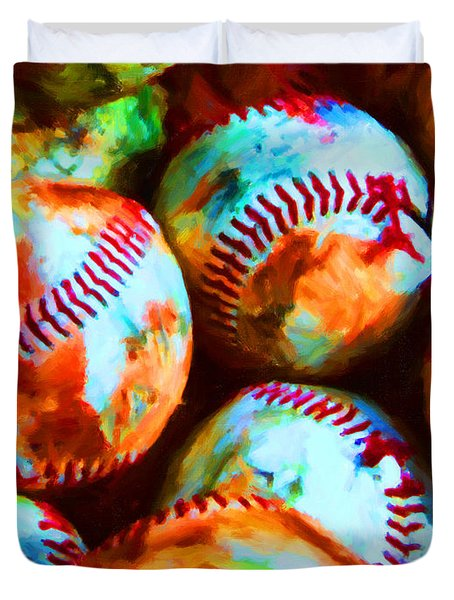 All American Pastime - Pile Of Baseballs - Painterly Duvet Cover by Wingsdomain Art and Photography