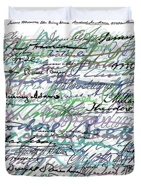 All The Presidents Signatures Teal Blue Duvet Cover by Tony Rubino