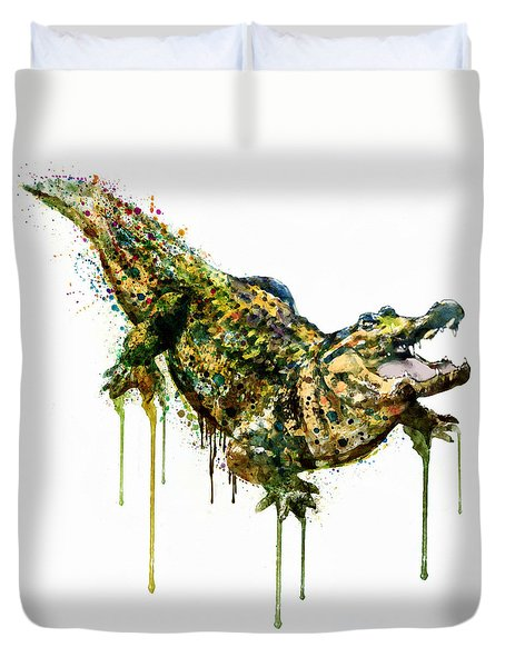 Alligator Watercolor Painting Duvet Cover by Marian Voicu