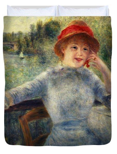Alphonsine Fournaise Duvet Cover by Pierre Auguste Renoir