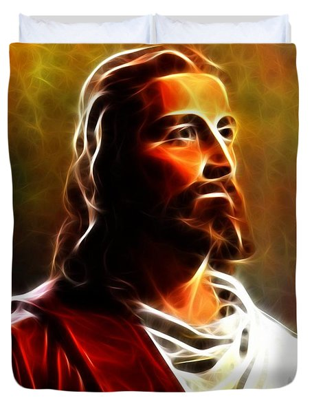 Amazing Jesus Portrait Duvet Cover by Pamela Johnson