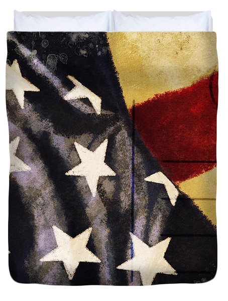 America flag pattern postcard Duvet Cover by Setsiri Silapasuwanchai
