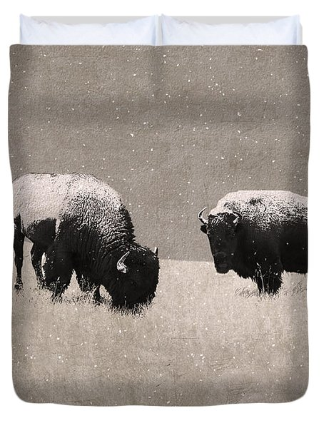American Bison Duvet Cover by Ron Jones