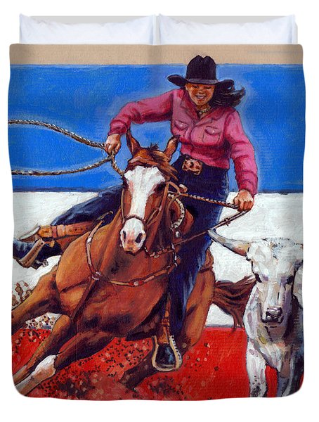 American Cowgirl Duvet Cover by John Lautermilch