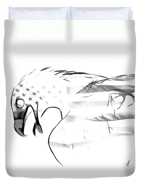 American Eagle Black And White Duvet Cover by Melanie Viola