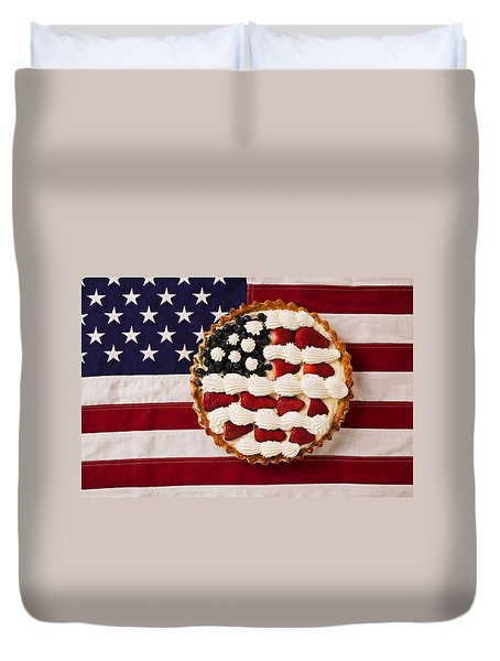 American Pie On American Flag  Duvet Cover by Garry Gay