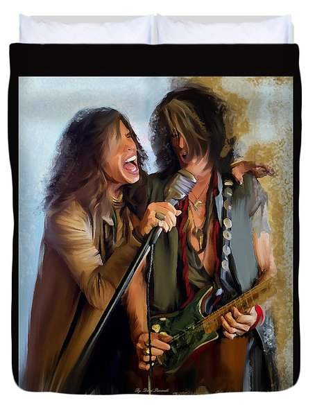 American Rock  Steven Tyler And Joe Perry Duvet Cover by Iconic Images Art Gallery David Pucciarelli