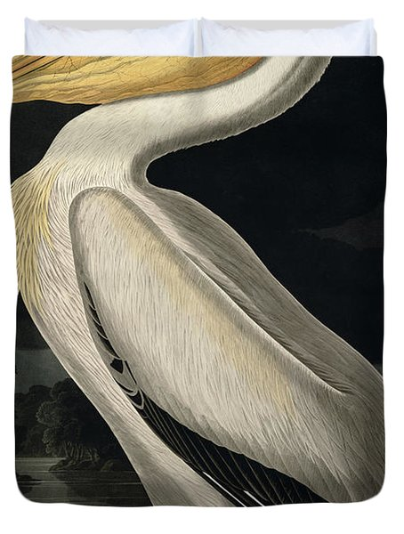 American White Pelican Duvet Cover by John James Audubon