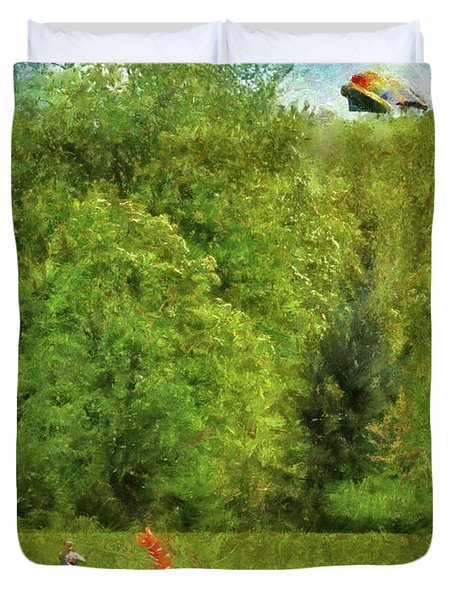 Americana - People - Let's Go Fly A Kite Duvet Cover by Mike Savad