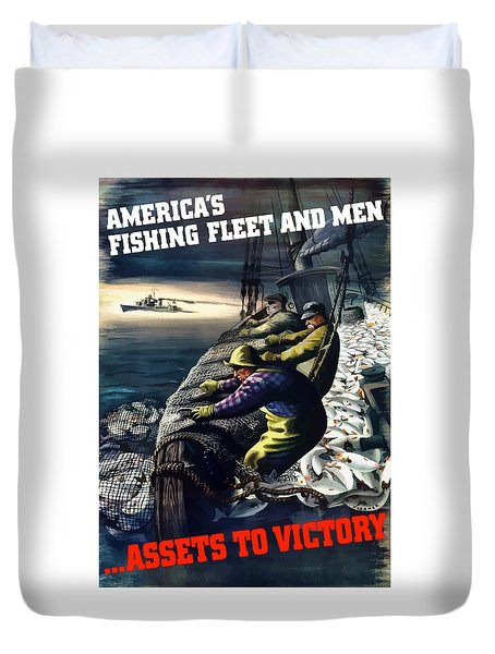 America's Fishing Fleet And Men  Duvet Cover by War Is Hell Store