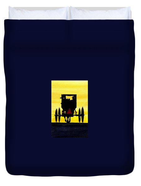 Amish Buggy At Dusk Duvet Cover by Michael Vigliotti