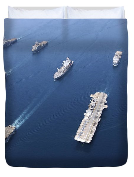 Amphibious Task Force-west In Formation Duvet Cover by Stocktrek Images