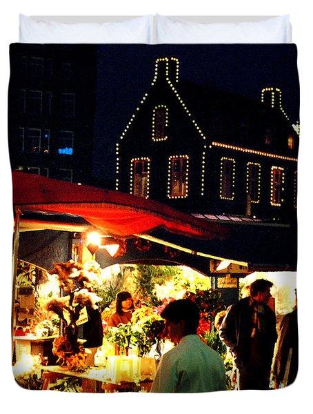 Amsterdam Flower Market Duvet Cover by Nancy Mueller