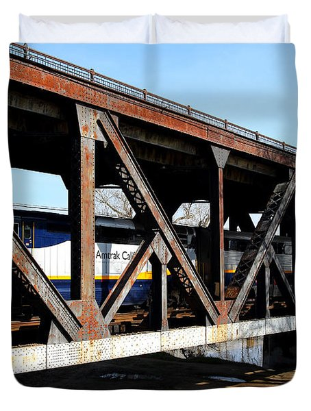 Amtrak California Crossing The Old Sacramento Southern Pacific Train Bridge . 7d11410 Duvet Cover by Wingsdomain Art and Photography