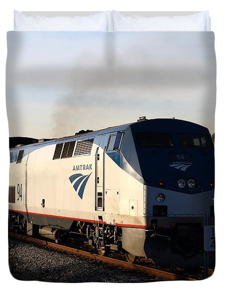 Amtrak Trains At The Niles Canyon Railway In Historic Niles District California . 7d10856 Duvet Cover by Wingsdomain Art and Photography