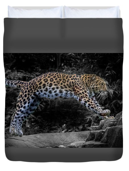 Amur Leopard On The Hunt Duvet Cover by Martin Newman