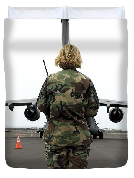 An Airfield Manager Greets An Arriving Duvet Cover by Stocktrek Images