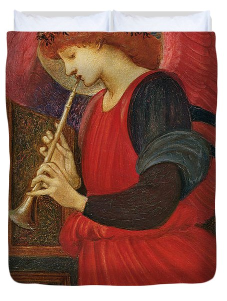 An Angel Playing A Flageolet Duvet Cover by Sir Edward Burne-Jones