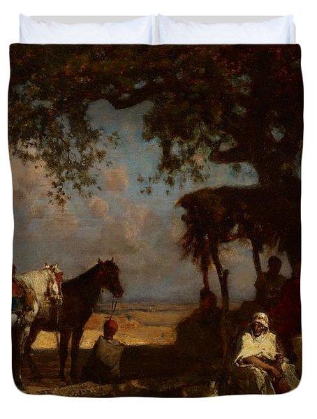 An Arab Encampment Duvet Cover by Gustave Guillaumet