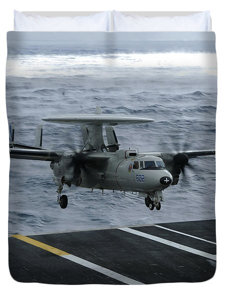 An E-2c Hawkeye Lands Aboard Duvet Cover by Stocktrek Images