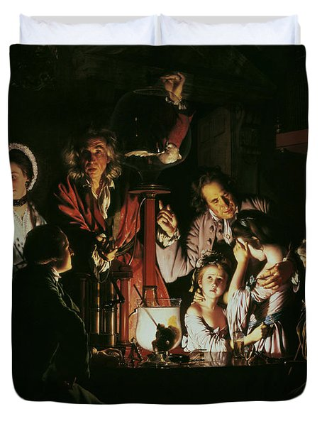 An Experiment On A Bird In The Air Pump Duvet Cover by Joseph Wright of Derby