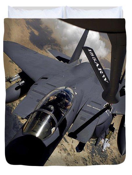 An F-15 Strike Eagle Prepares Duvet Cover by Stocktrek Images